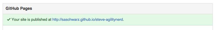 Screenshot of GitHub settings showing URL for GitHub pages